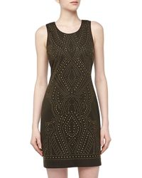 Nicole Miller Sleeveless Studded Stretchknit Dress - Lyst