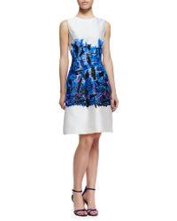 Lela Rose Embroidered Full-skirt Sheath Dress - Lyst
