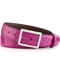 W. Kleinberg Glazed Alligator Belt With Simple Rec Buckle - Lyst
