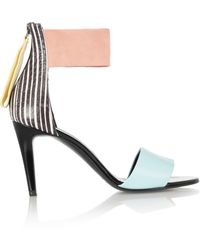 Pierre Hardy Striped Elaphe Leather and Suede Sandals - Lyst