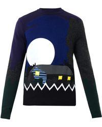 Kenzo Landscape-Intarsia Wool-Blend Sweater - Lyst