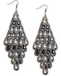 Material Girl - Gunmetaltone Crystal Teardrop Diamondshaped Chandelier Earrings - Lyst
