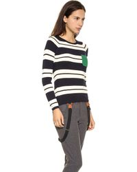 Chinti And Parker Snug Stripe Sweater Navy Cream Pea Green - Lyst