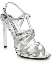 Prada Metallic Leather Sandals - Lyst