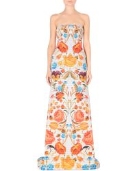 Temperley London Quilted Floralprint Gown Cream Mix - Lyst