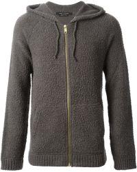 Marc Jacobs Textured Knit Hoodie Jacket brown - Lyst