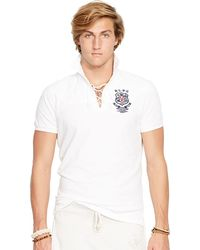 Polo Ralph Lauren Custom-Fit Lace-Up Rugby Shirt - Lyst