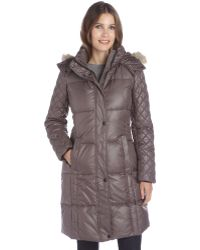Marc New York Anthracite Lacquer Quilted 'Alana' Fur Trim Hooded Down Coat - Lyst