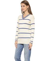 Zoe Karssen Thin Stripe Sweater - Optical White/Blue Print - Lyst