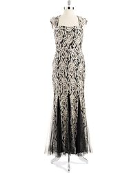 Betsy & Adam Lace And Sequin Mermaid Gown - Lyst
