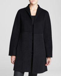 Eileen Fisher Color Block Wool Coat - Lyst