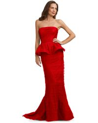 Adrianna Papell Strapless Pleated Peplum Gown - Lyst