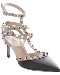 Valentino Black And Light Pink Pink Leather 'Rockstud' Strappy Pumps - Lyst