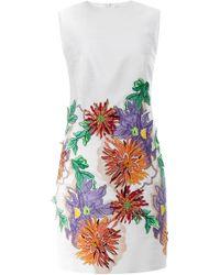 Blumarine Embroidered White Jacquard Sheath Dress - Lyst
