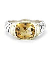 David Yurman Pre-owned 14ky  Sterling Silver Cable Ring with Faceted Citrine - Lyst