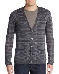 John Varvatos Striped Linen Cardigan gray - Lyst