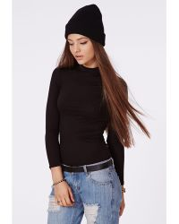 Missguided Eleanor Long Sleeve Jersey Turtle Neck Black - Lyst