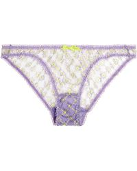 Agent Provocateur Nancee Neon-Embroidered Tulle Briefs - Lyst