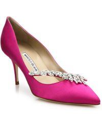 Manolo Blahnik Nadira Crystal-Detailed Satin Pumps pink - Lyst