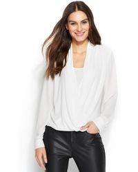 Vince Camuto Long-Sleeve Drape-Front Blouse - Lyst