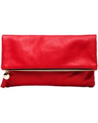Clare Vivier Red Foldover Clutch - Lyst
