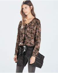 Zara Printed Top - Lyst
