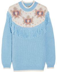 Miu Miu Fringed Intarsia Knitted Sweater - Lyst