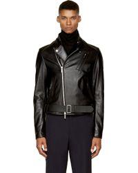 Juun.J Black Leather Classic Biker Jacket - Lyst