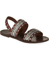 Maje Braided Leather Sandals - For Women brown - Lyst