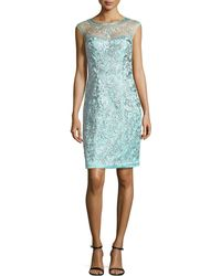Sue Wong Embroidered Cap-Sleeve Sheath Dress - Lyst