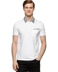 Calvin Klein Mixed-Media Polo white - Lyst