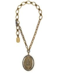 Lanvin Oversize Crystal Cameo Brooch Pendant Necklace - Lyst