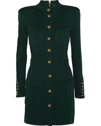 Balmain Wool Mini Dress - Lyst