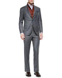 Brunello Cucinelli Plaid Two-Piece Wool Suit - Lyst
