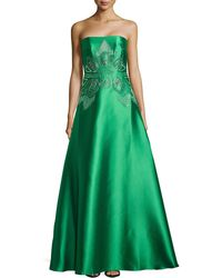 Badgley Mischka Mikato Strapless Scallopbeaded Gown - Lyst