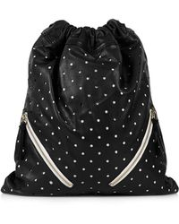 Topshop Perforated Leather Drawstring Backpack - Lyst