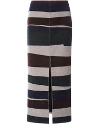 Carven Long Striped Wool Skirt With Split - Lyst