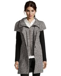 SOIA & KYO - Black And Cream Wool Blend Twill Accent Long Sleeve Coat - Lyst