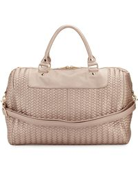 Neiman Marcus - Woven Faux-Leather Weekender Bag - Lyst
