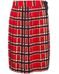 Marc By Marc Jacobs Plaid Pleated Midi Skirt - Lyst