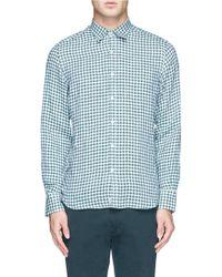 Canali Gingham Check Linen Shirt - Lyst