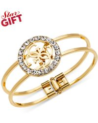Guess Logo And Crystal Two-Row Bangle Bracelet - Lyst