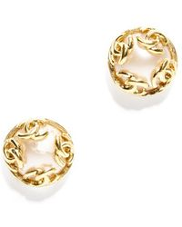 Chanel Pre-Owned Faux Pearl Gold Cc Clip On Earrings - Lyst