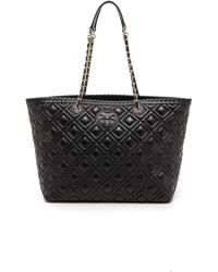 Tory Burch Marion Quilted Small E  W Tote  Black - Lyst