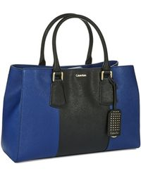 Calvin Klein Saffiano Leather Tote - Lyst