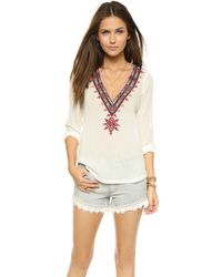 Twelfth Street Cynthia Vincent V Neck Embroidered Top - Ivory white - Lyst
