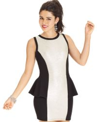 Material Girl Juniors Colorblock Peplum Dress - Lyst