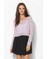 Pins And Needles - Diamond Pointelle Cropped Sweater - Lyst