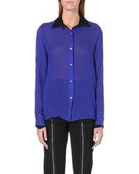 Jean Paul Gaultier Contrastdetail Silk Shirt Blue - Lyst