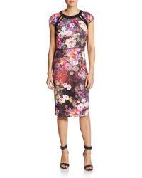 Eci Floral Print Cutout Dress - Lyst
